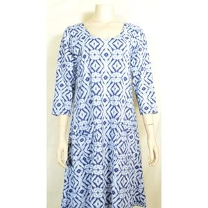 Fresh Produce dress S blue gray white abstract dia
